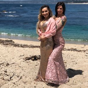 Soieblu gown fashion nova rose gold S sequin